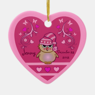 Cute ornament with Baby Owl in Heart & text