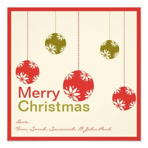 Cute Ornaments Merry Christmas Cards 13 Cm X 13 Cm Square Invitation Card