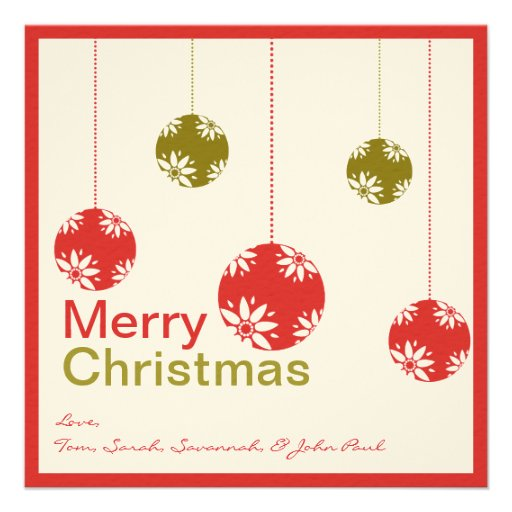 Cute Ornaments Merry Christmas Cards Personalised Invites