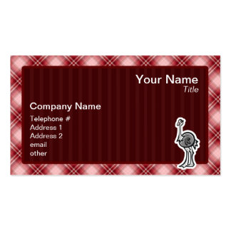 Cute Ostrich; Red Plaid Pack Of Standard Business Cards