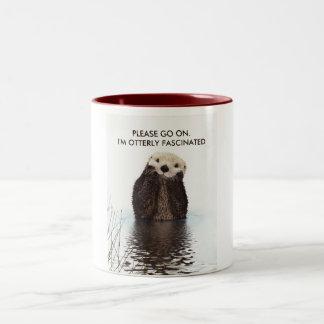 Cute Otter with Funny Pun Two-Tone Coffee Mug