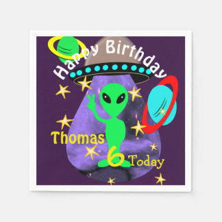 Cute outer Space Alien Themed Birthday Party Disposable Serviette