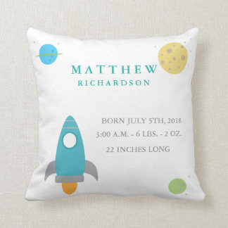 Cute Outer Space Birth Announcement Pillow