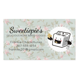 Cute oven stove eating cookie baking bakery pack of standard business cards