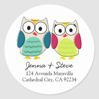 Cute Owl Address Labels Round Sticker
