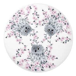 Cute Owl and Cherry Blossoms Ceramic Knob
