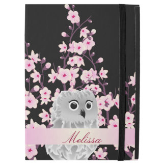 Cute Owl And Cherry Blossoms Monogram