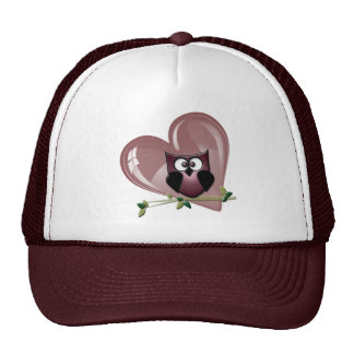 Cute Owl and Heart Gifts Cap