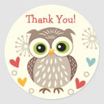 Cute Owl and Hearts Thank you Stickers