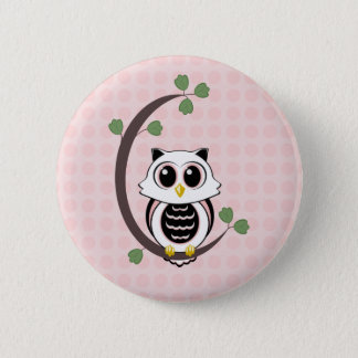 Cute Owl and Polka Dots Button