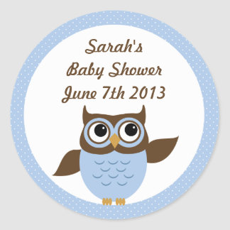 Cute Owl Baby Boy Shower Stickers