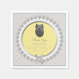 Cute Owl Baby Shower Elegant Yellow Gray Thank You Paper Serviettes