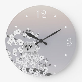 Cute Owl Beige Taupe White Numbers Large Clock