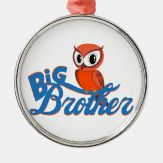 Cute Owl Big Brother Silver-Colored Round Decoration