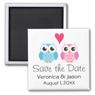 Cute owl bird couple with heart save the date magnet