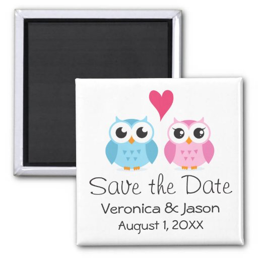 Cute owl bird couple with heart save the date refrigerator magnet