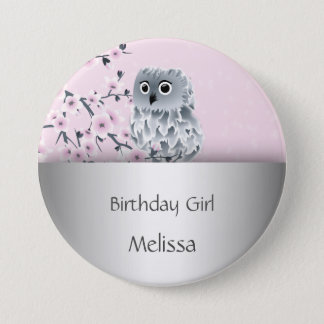 Cute Owl Birthday Girl 7.5 Cm Round Badge