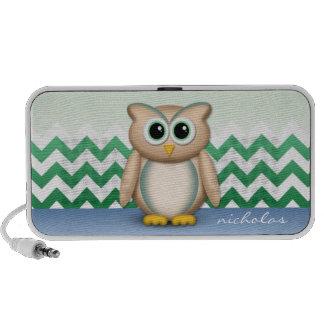 Cute Owl - Blue & Green Chevron Speaker
