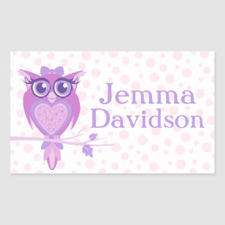Cute Owl book plate name purple id label sticker