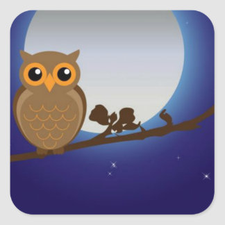 Cute Owl By The Moonlight Square Sticker