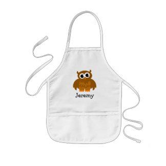 Cute owl cartoon apron for kids | Customize name