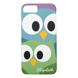 Cute Owl Cartoon eyes with Name - colorful iPhone 8/7 Case