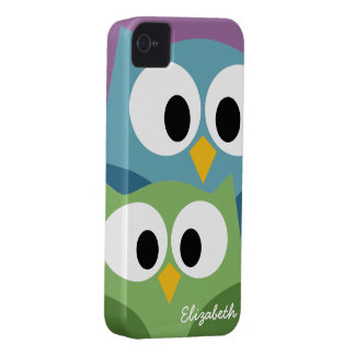 Cute Owl Cartoon eyes with Name - colourful Case-Mate iPhone 4 Cases