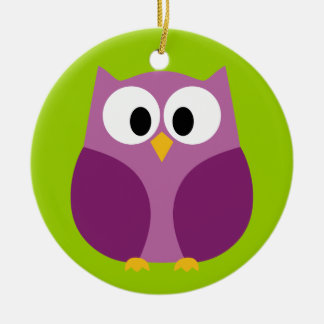 Cute Owl Cartoon - purple and green Round Ceramic Decoration