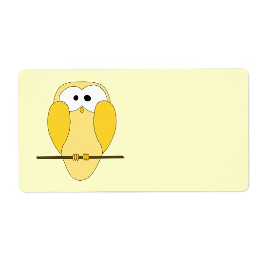 Cute Owl Cartoon. Yellow.