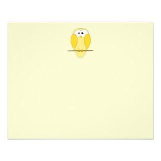 Cute Owl Cartoon. Yellow. 11.5 Cm X 14 Cm Flyer