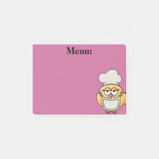 Cute Owl Chef Menu Pink Post It Note