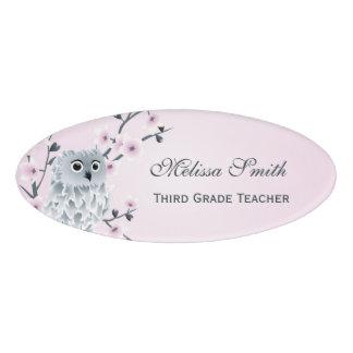 Cute Owl Cherry Blossoms Teacher Name Tag