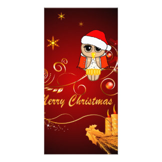 Cute owl christmas photo greeting card