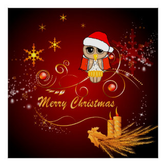 Cute owl christmas posters