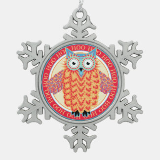 Cute Owl Colorful Christmas Pewter Snowflake Decoration