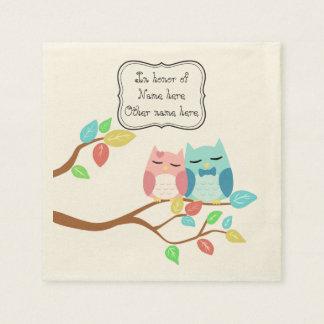 Cute owl couple disposable serviette