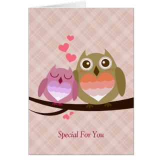Cute Owl Couple Full of Love Heart Greeting Card