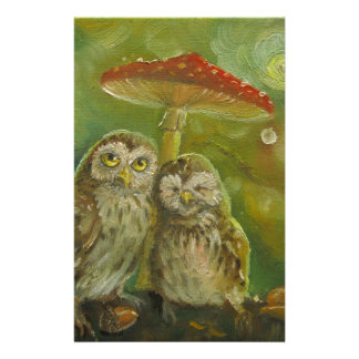 Cute Owl Couple under the Mushroom Stationery Paper
