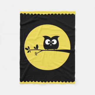 Cute Owl + customised background colours Fleece Blanket