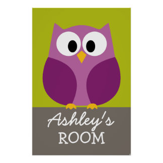 Cute Owl Drawing for Kids Room Poster