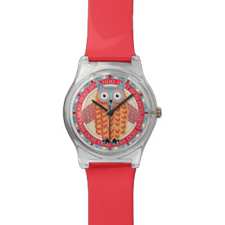 Cute Owl Drawing Hoo Hoot Colorful Red + Blue Watches