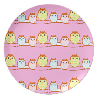 Cute Owl Family Plate