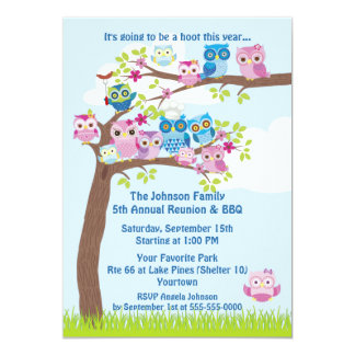 Cute Owl Family Reunion and BBQ 13 Cm X 18 Cm Invitation Card