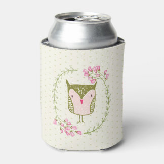 Cute Owl Floral Wreath and Hearts Can Cooler