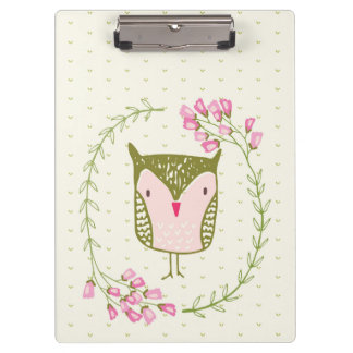 Cute Owl Floral Wreath and Hearts Clipboards