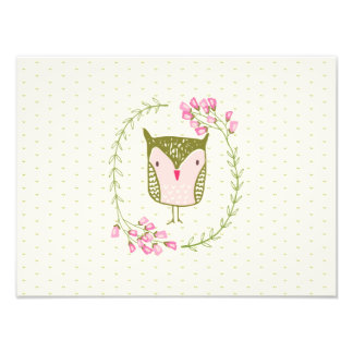 Cute Owl Floral Wreath and Hearts Photo Print