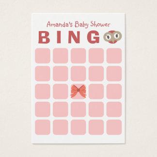 Cute Owl Girl 5x5 Baby Shower Bingo Card