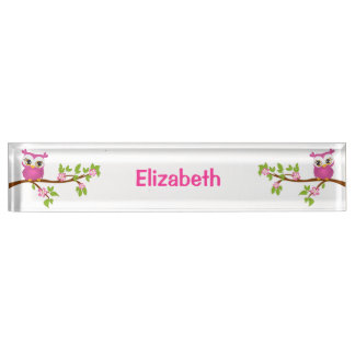 Cute Owl Girl on a Branch Desk Nameplate