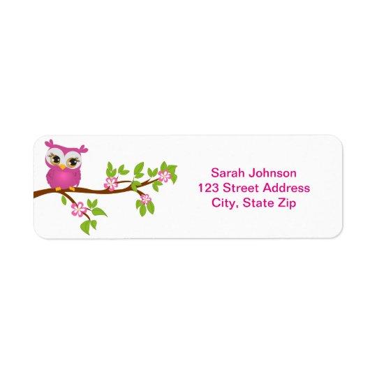 Cute Owl Girl on a Branch Return Address Return Address Label