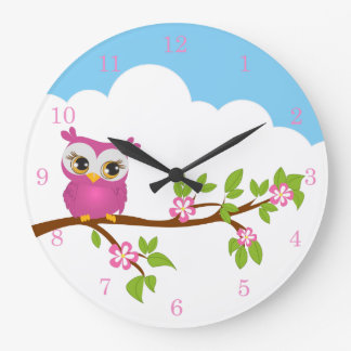 Cute Owl Girl on a Branch Wall Clocks